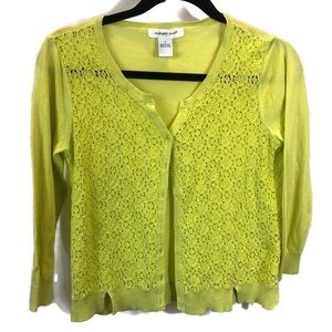 Lime color button up cardigan